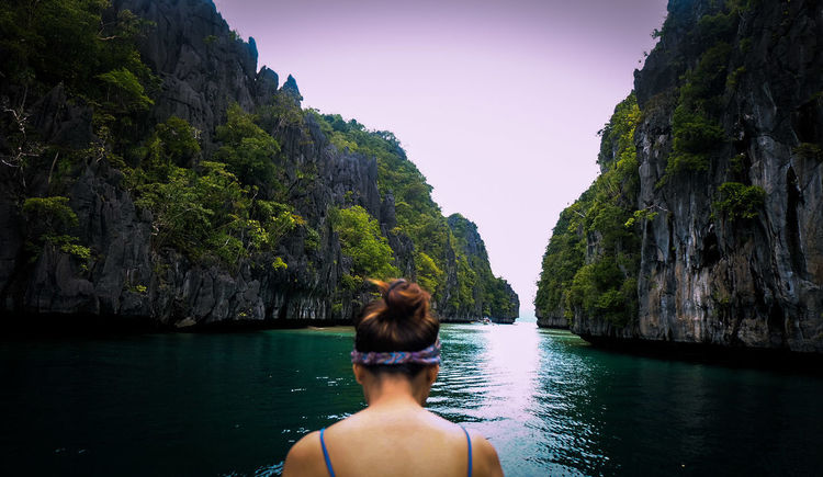 ASIA Philippines Leisure Activity Nature Outdoors Real People Rock Formation Scenics Sea Water Women Young Adult