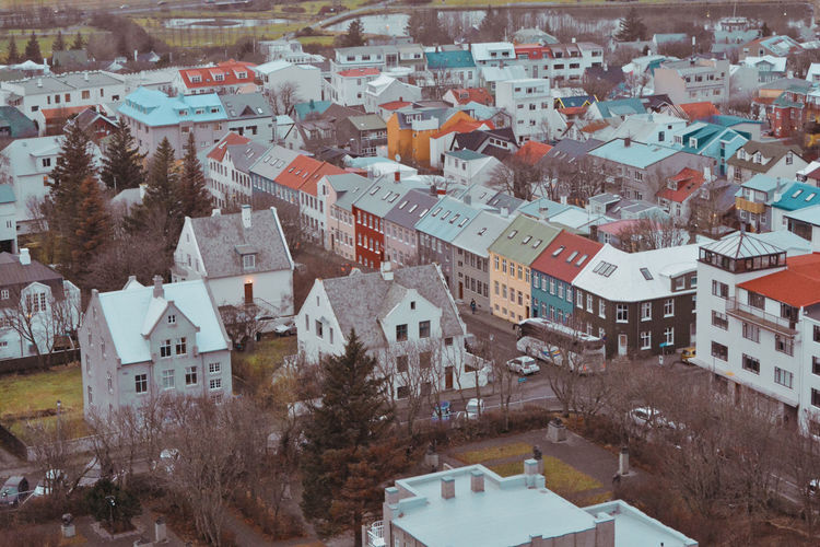 High angle view of townscape and trees during winter