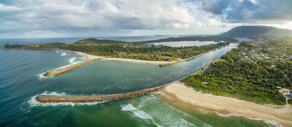 Aerial panorama of beautiful inlet and coastline. Camden Haven Inlet, NSW, Australia Australia Coastline Drone  Inlet New South Wales  Panorama Panoramic Vivid Colours  Aerial Aerial View Beach Beauty In Nature Camden Inlet Cloud - Sky Day Drone Photography Environment High Angle View Idyllic Land Landscape Mountain Nature No People Non-urban Scene Ocean Outdoors Scenics Scenics - Nature Sea Sky Sunset Tranquil Scene Tranquility Water