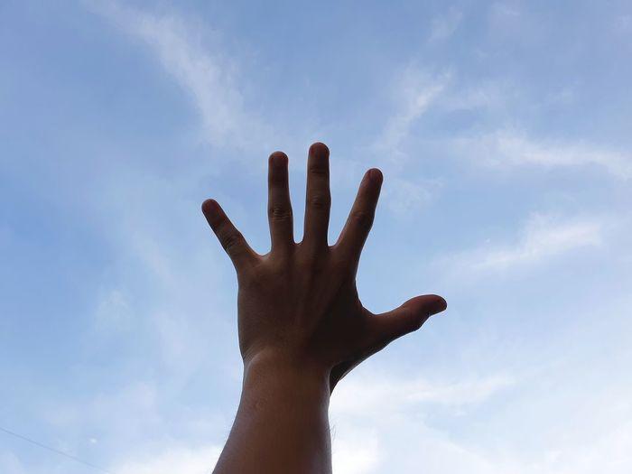 Human Hand Palm Fingernail Silhouette Human Finger Sky Cloud - Sky
