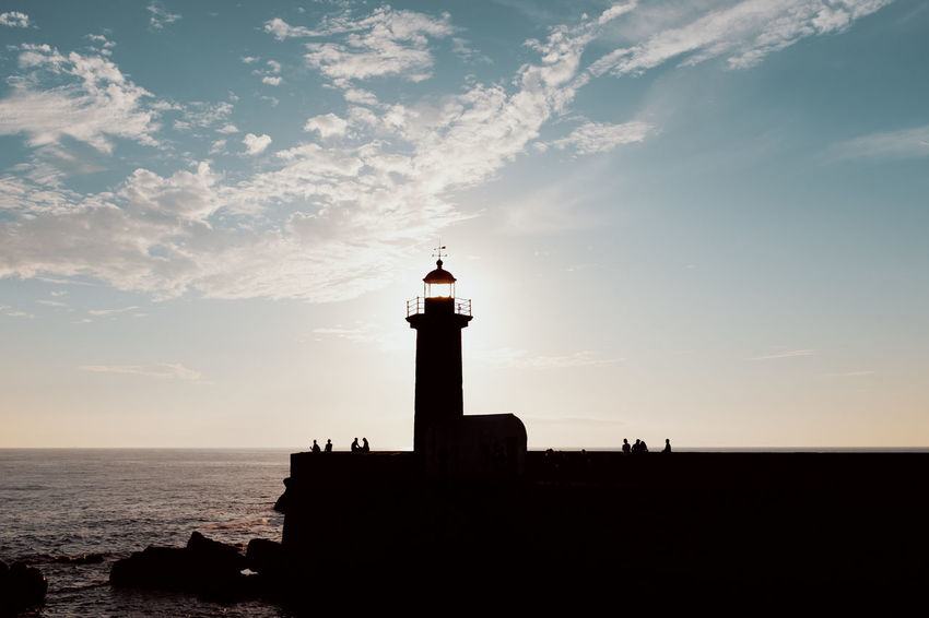 Threeweeksgalicia Built Structure Building Exterior Architecture No People Building Outdoors Sky Sea Water Lighthouse Guidance Tower Silhouette Nature Cloud - Sky Direction Sunset Scenics - Nature Protection Safety Horizon Over Water