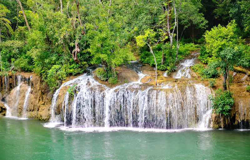 Waterfall Beauty In Nature Flowing Kwai Noi The River Flowing Water Forest Green Color Idyllic Motion Nature Non-urban Scene Outdoors Plant River Rock - Object Rock Formation Saiyoknoi Saiyokyai Scenics Tranquility Travel Destinations Tree Water Waterfall Waterfront First Eyeem Photo