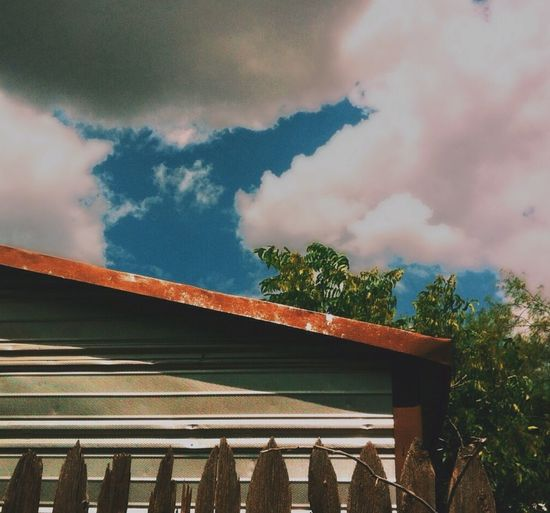 Roof Clouds Sky Picket Fence