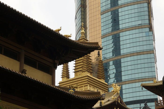 Jing'an Temple Shanghai Architecture Buddhist Temple Building Exterior Built Structure China City Day Jing'an Temple Low Angle View No People Outdoors Place Of Worship Religion Roof Shanghai, China Sky Zen