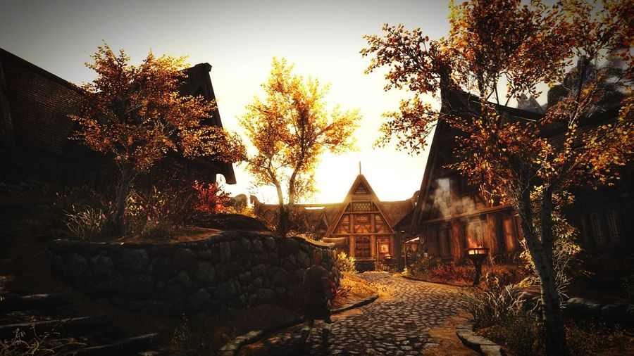The Town of Whiterun Autumn Sky Architecture Built Structure Building Exterior Autumn Colors Beauty In Nature Gaming Skyrim XboxOne Roleplay Nordic Architecture Architecture EyeEmNewHere