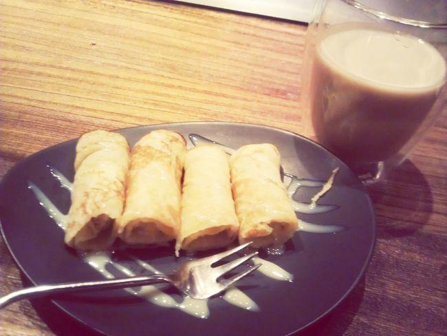Banana Pancake Milk Tea Thai Food Yummy