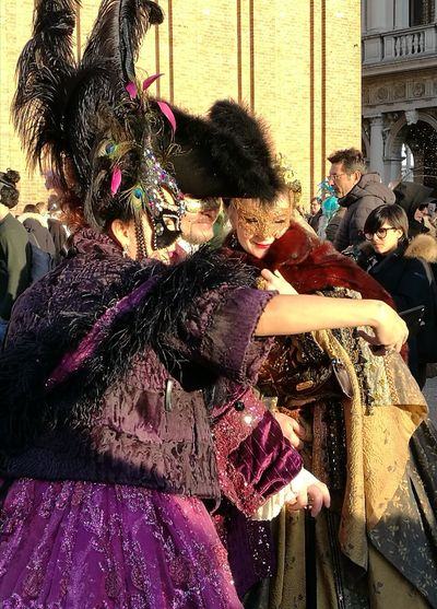 Arts Culture And Entertainment Carnival Venice, Italy Masked Dress Real People Modern Age Carnival Crowds And Details Mobile Conversations