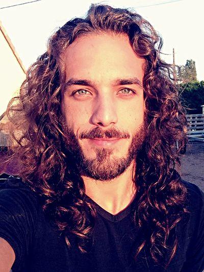 Smile Smile ✌ Selfie ✌ Long Hair Men Thas't Me Blue Eyes Curly Hair Longhairdontcare Beard