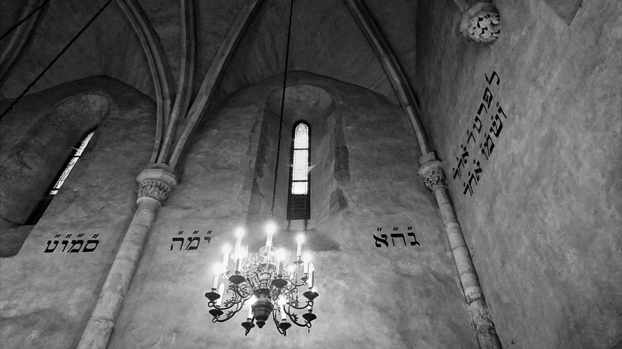 Old new synagogue. Muslim Prague Synagogue EyeEm Best Shots Place Of Worship Spirituality Religion Text Ceiling Close-up Architecture Altar Chandelier Hanging Light Fresco Light Mural Interior Decorative Art Hope Stained Glass Sculpture