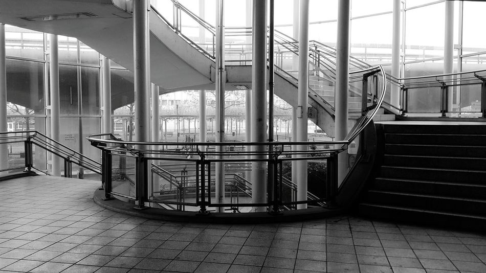 Railing No People Steps And Staircases Built Structure Architecture Blackandwhite Empty Places Black And White Black & White Blackandwhite Photography City City Life Train Station Staircase Stairs