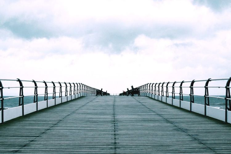 Railing Sky Pier The Way Forward Outdoors Vanishing Point Day Cloud - Sky No People Elevated Walkway Eyeemphotography Sea Seaside Beach Eye4photography  EyeEm Gallery Taking Photos Low Angle View