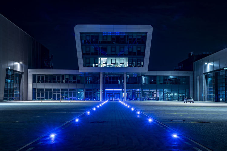 modern architecture Façade Nightphotography Nikon Architecture Blue Blue Lights  Building Exterior Built Structure City Communication Direction Finkenwerder Illuminated Lighting Equipment Long Exposure Modern Nature Night No People Outdoors Sky Technology
