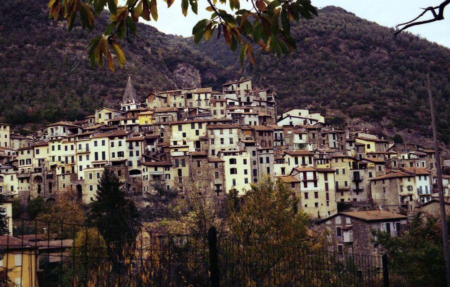 Houses Rock Village Medieval Medioeval Cities Pigna Liguria,Italy Autumn Film Photography