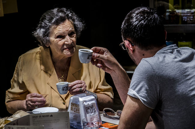 Italian coffee Adult Adults Only Amore Bar Break Caffè Coffee Coffee Break Coffee Time Family Grandma Grandmother Grandmother And Grandson Love Lovely Mom Mom And Son People Portrait Portrait Photography Relax Son Two People EyeEmNewHere