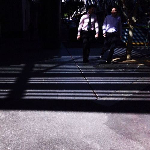 Stripes Pattern | Walking Men Two People Shadow Togetherness Night Real People Outdoors City Adult People Adults Only