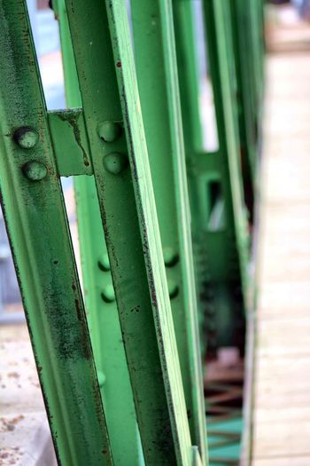 Architecture Close-up Day Focus On Foreground Green Green Color Metal No People Outdoors Railing Transportation