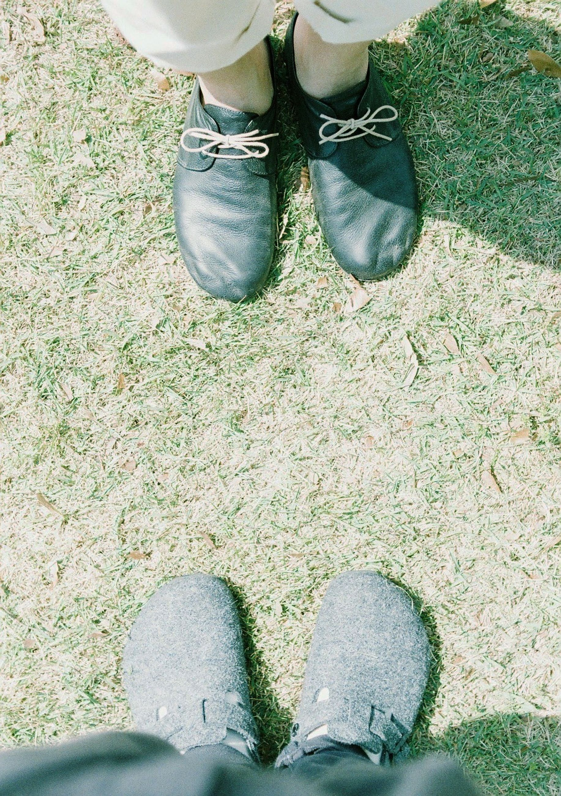 low section, shoe, person, high angle view, footwear, personal perspective, human foot, lifestyles, standing, leisure activity, men, grass, field, unrecognizable person, directly above, pair
