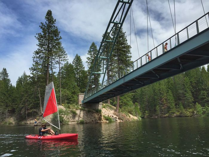 KAYAKING LAKE SISKIYOU Lake Lake Siskiyou Mt Shasta California Bridge Foot Bridge