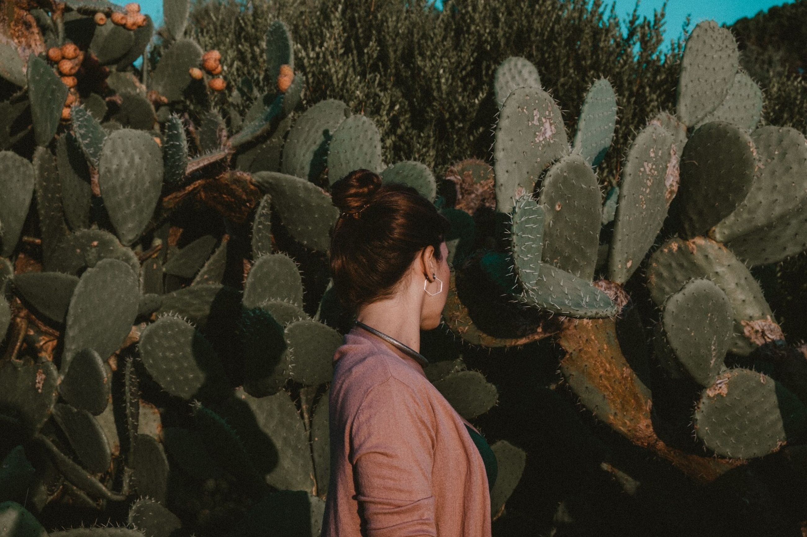 real people, standing, leisure activity, lifestyles, women, people, casual clothing, young adult, waist up, adult, young women, men, portrait, headshot, cactus, succulent plant, nature, plant, warm clothing, hairstyle