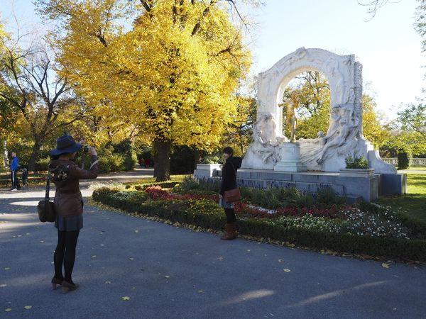 Asian  Fall Johann Strauss Leisure Activity Park Sculpture Stadtpark Wien Statue Tourism Tourists Vienna