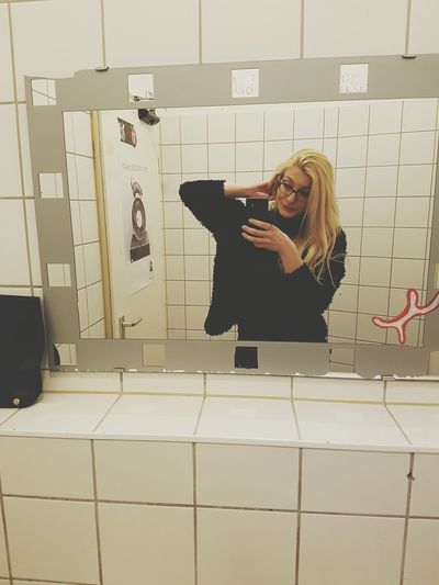 Bathroom Selfie Her Blondeness Blond Hair Lights Bar Berlin