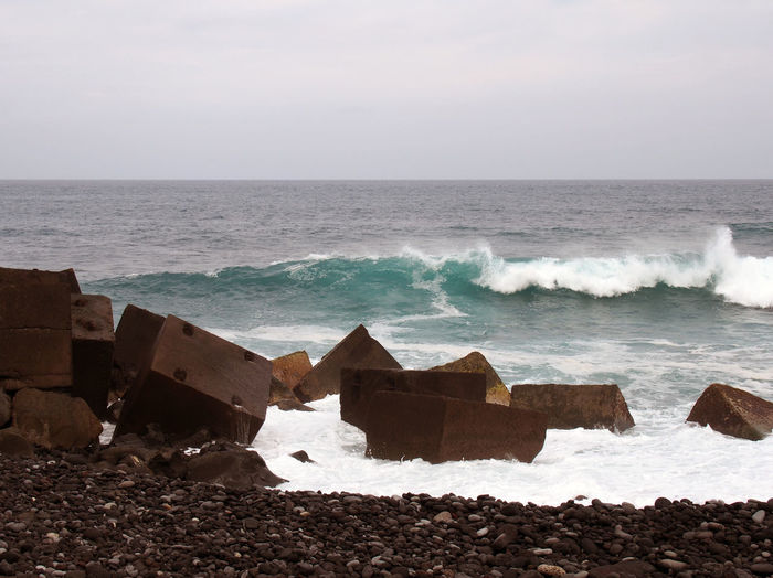 concrete breakers and beach with waves Atlantic Ocean Surf Beach Beauty In Nature Breakers Day Horizon Over Water Nature No People Outdoors Sea Sky Tenerife Water Wave