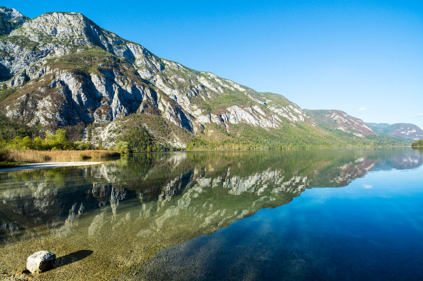 Nature Sky Day Bohinjsko Jezero Water Scenics - Nature Mountain Lake Reflection Beauty In Nature Tranquility Tranquil Scene Clear Sky No People Environment Copy Space Idyllic Blue Land Sunlight Outdoors