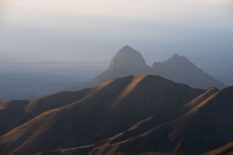 Scenic view of mountains against sky during sunset in big bend national park - texas