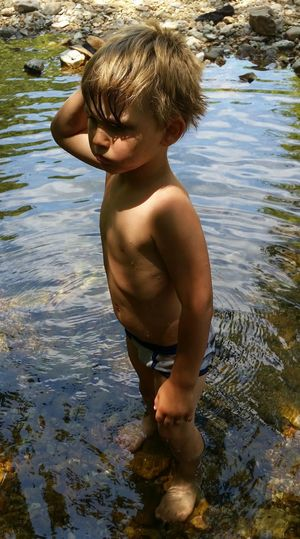 💯 Country Life Preschooler Porch 👫 Grandkids 💙💛💜 Fun💕 Family 🙏🙌 Standing Creek Missouri Ozarks, USA 💥💖 Water Child Childhood Males  Boys Swimming Beauty Tree Summer Shirtless Shallow Standing Water Ankle Deep In Water Stream Wading