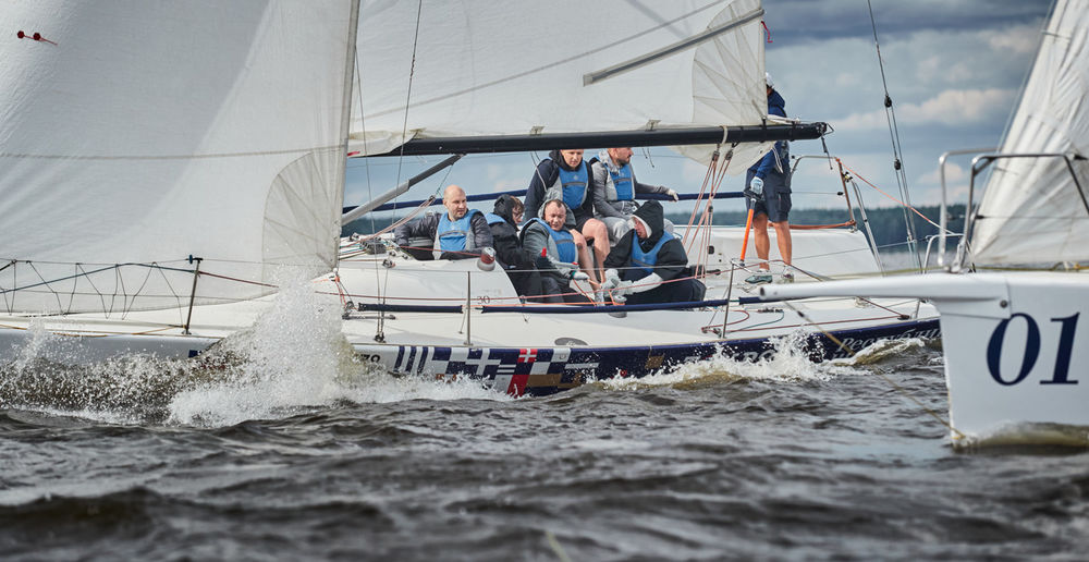 People sailing in sea