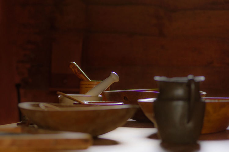 Close-up of utensils on table