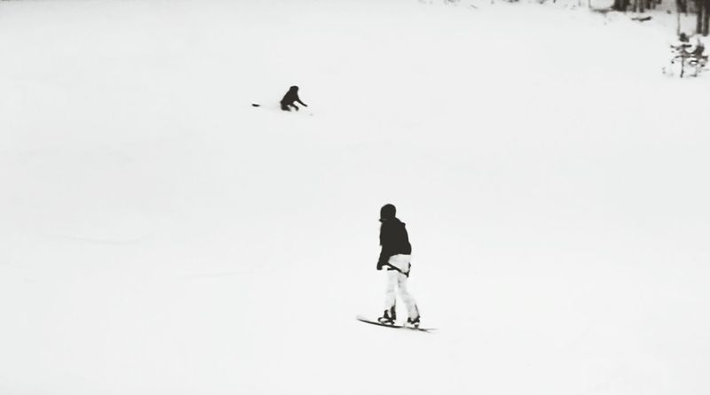 Black and white. Snow Winter Cold Temperature Full Length Nature Adventure Snowboarding Finding New Frontiers The Week On EyeEem Leisure Activity CaptureTheMoment Minimalist Photography  Snow Sports