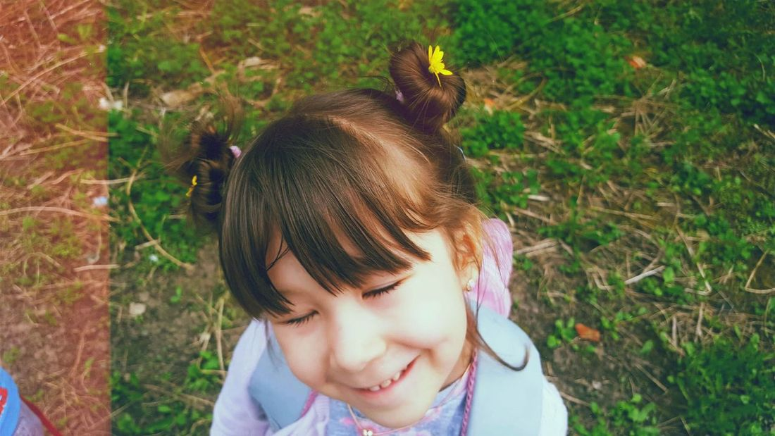 Magic girl Flower Park Happy Princess Child Childhood Smiling Happiness Girls Headshot Portrait Grass Close-up