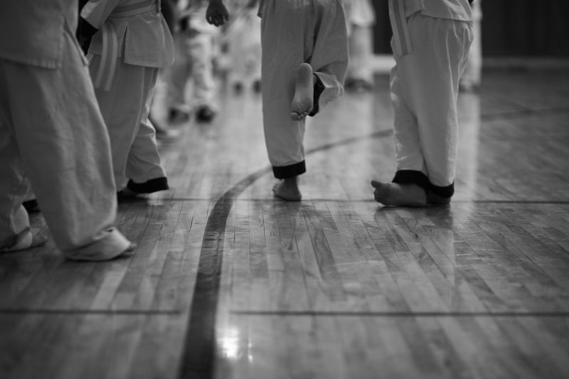 Low section of children in karate classes