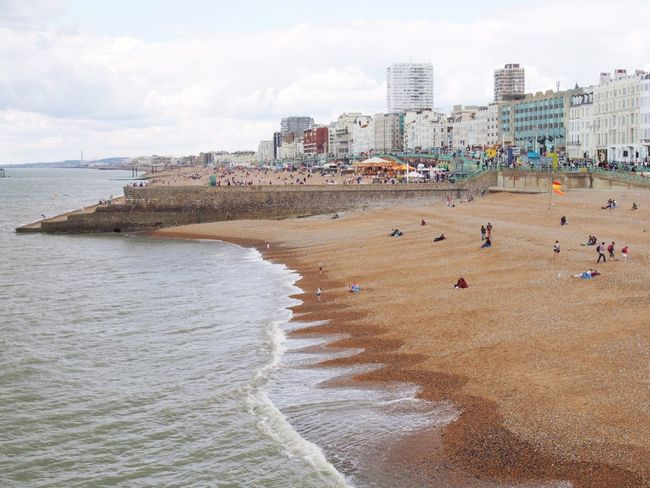 Brighton Uk England Beach Sea Sand Architecture Building Exterior Sky Water Built Structure Day Outdoors City Large Group Of People Nature Beach Volleyball People