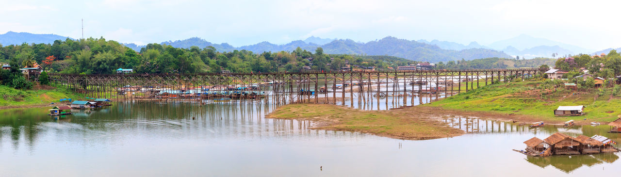 Panoramic view of wooden bridge over river at sangkhla buri district