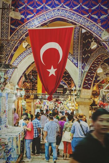 Istanbul Market Bazaar Souk City Urban People Travel Tourism Turkey ☪ Store Indoors  Person Large Group Of People Lifestyles Store Decoration Flag