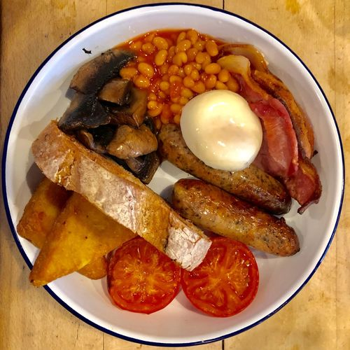 Full English Breakfast British Cooked Brunch Breakfast English Breakfast Tomato Sausage Egg Bacon Food And Drink Food Freshness Ready-to-eat Healthy Eating Still Life Plate Table Directly Above Indoors  Meal Meat Egg No People Close-up High Angle View Vegetable Sausage Tomato