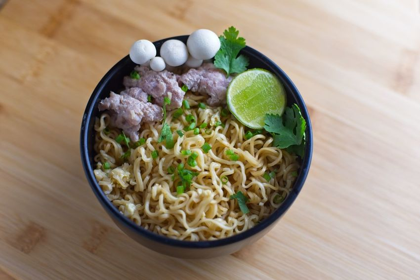 Comfort Food Meal Asian Food Bowl Close-up Food Freshness Healthy Eating Indoors  Instant Noodles Japanese Food Lime Mushroom No People Noodle Ready-to-eat Still Life Table Vegetable Wellbeing Wood - Material