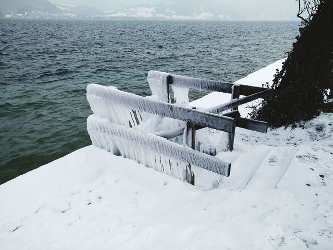 Frozen entry to Lake Attersee Frozen Nature Day Attersee Beach Sand Outdoors Nature Snow Winter No People