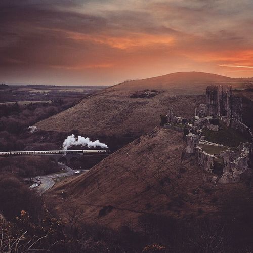 (null) Train Travel Castle U.K. Sunset Britains_talent Landscapes With WhiteWall