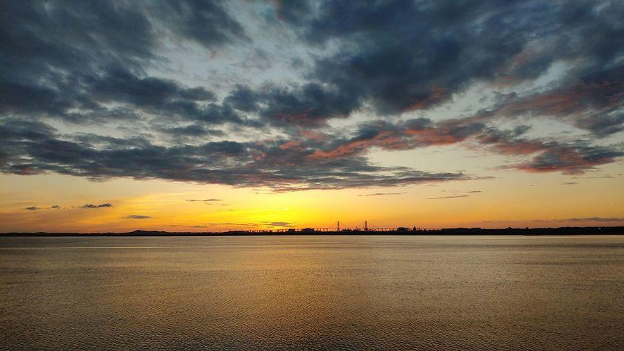 West Sea Bridge Beautiful Beach Silhouette Dramatic Sky Moody Sky Romantic Sky