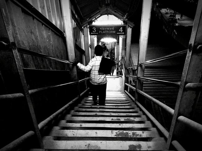 One Person The Way Forward Black Background Monochromatic Monochrome _ Collection Monochrome Photography Blackandwhite Photography Black And White Blackandwhite Black&white Black & White Adapted To The City Mumbailocal Mumbaiphotography MumbaiDiaries Street Photography Streetphotography Street Life Stairs_collection Mumbailocaltrain Mumbai Popular Photos Popular Monochrome India Black And White Friday
