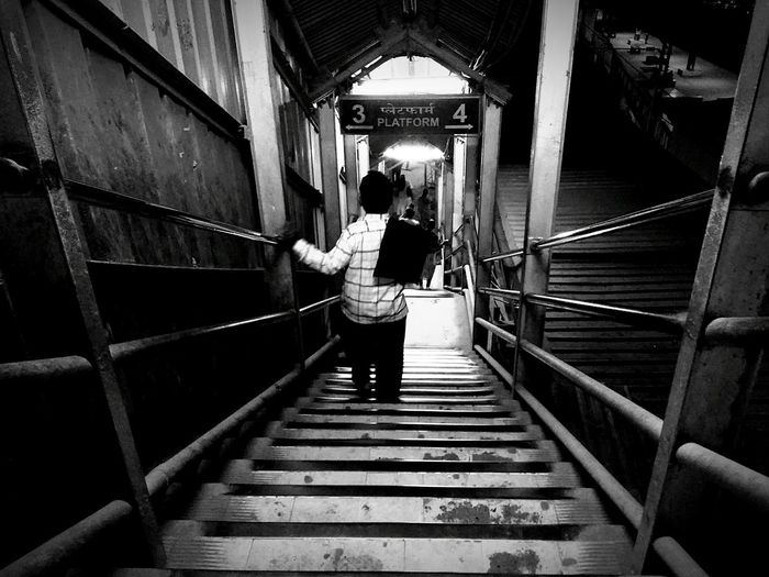 One Person The Way Forward Black Background Monochromatic Monochrome _ Collection Monochrome Photography Blackandwhite Photography Black And White Blackandwhite Black&white Black & White Adapted To The City Mumbailocal Mumbaiphotography MumbaiDiaries Street Photography Streetphotography Street Life Stairs_collection Mumbailocaltrain Mumbai Popular Photos Popular Monochrome India Black And White Friday The Street Photographer - 2018 EyeEm Awards