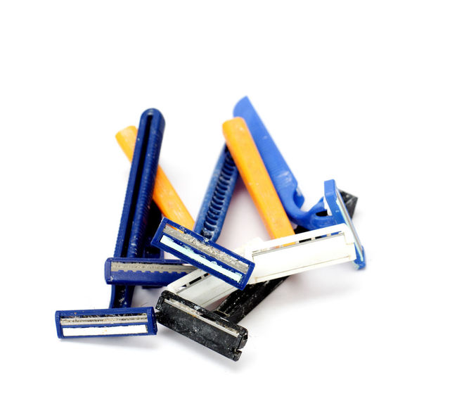 used razor blades Disposable Hair Razor Close-up Dirty Infection No People Old Old Razor Razor Blade Shaving Studio Shot Used White Background