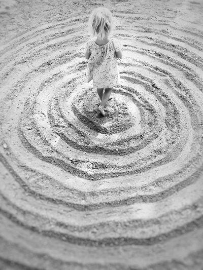 Blond Hair Bw Child Childhood Circles Kind Kreise Mädchen Outdoors Playground Sand Spielplatz EyeEmNewHere