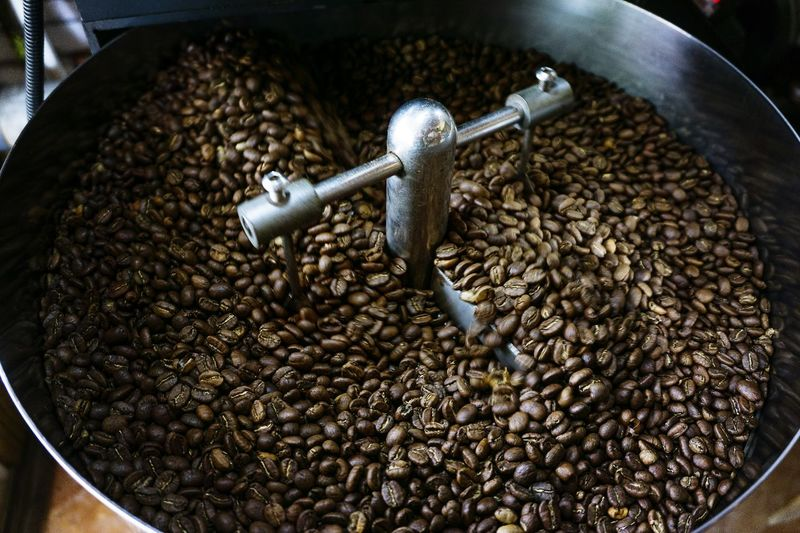 High angle view of coffee beans in water