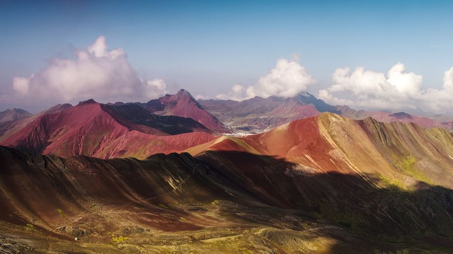 Aerial Aerial View DJI X Eyeem Wilderness Environment South America Peru Rainbow Mountain Geology Mountain Multi Colored Sky Landscape Cloud - Sky Mountain Range Arid Climate Mountain Peak This Is Latin America