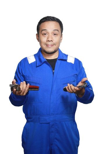 Mechanical Engeenering One Person White Background Only Men Blue One Man Only Portrait Looking At Camera Standing