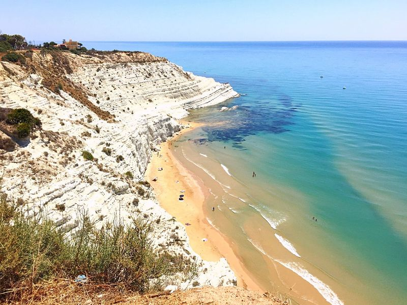 Sea Scenics Tranquil Scene Nature Beauty In Nature Water Beach Tranquility Horizon Over Water Outdoors Day Sand Blue Clear Sky Landscape Cliff White Cliffs  Sicily Italy Summertime Vacations Holidays Travel Destinations Travel Europe